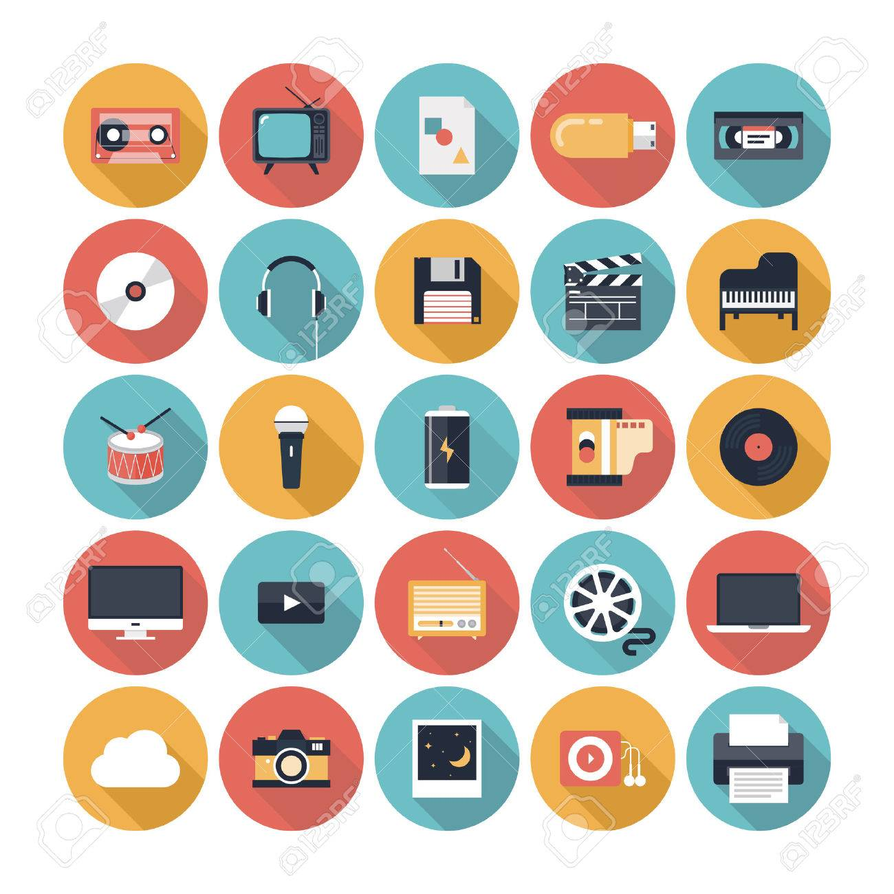 Modern flat icons vector illustration collection with long shadow design effect in stylish colors of  multimedia symbols, sound instruments, audio and video items and objects  Isolated on white background Stock Vector - 23864958