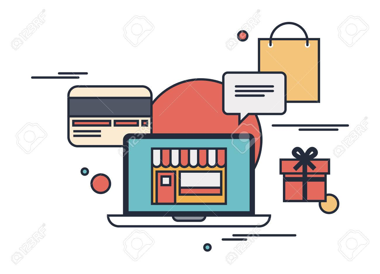 Flat design modern vector outline illustration concept of purchasing product via internet, online shopping communication and purchase with credit card  Isolated on white background Stock Vector - 23864960
