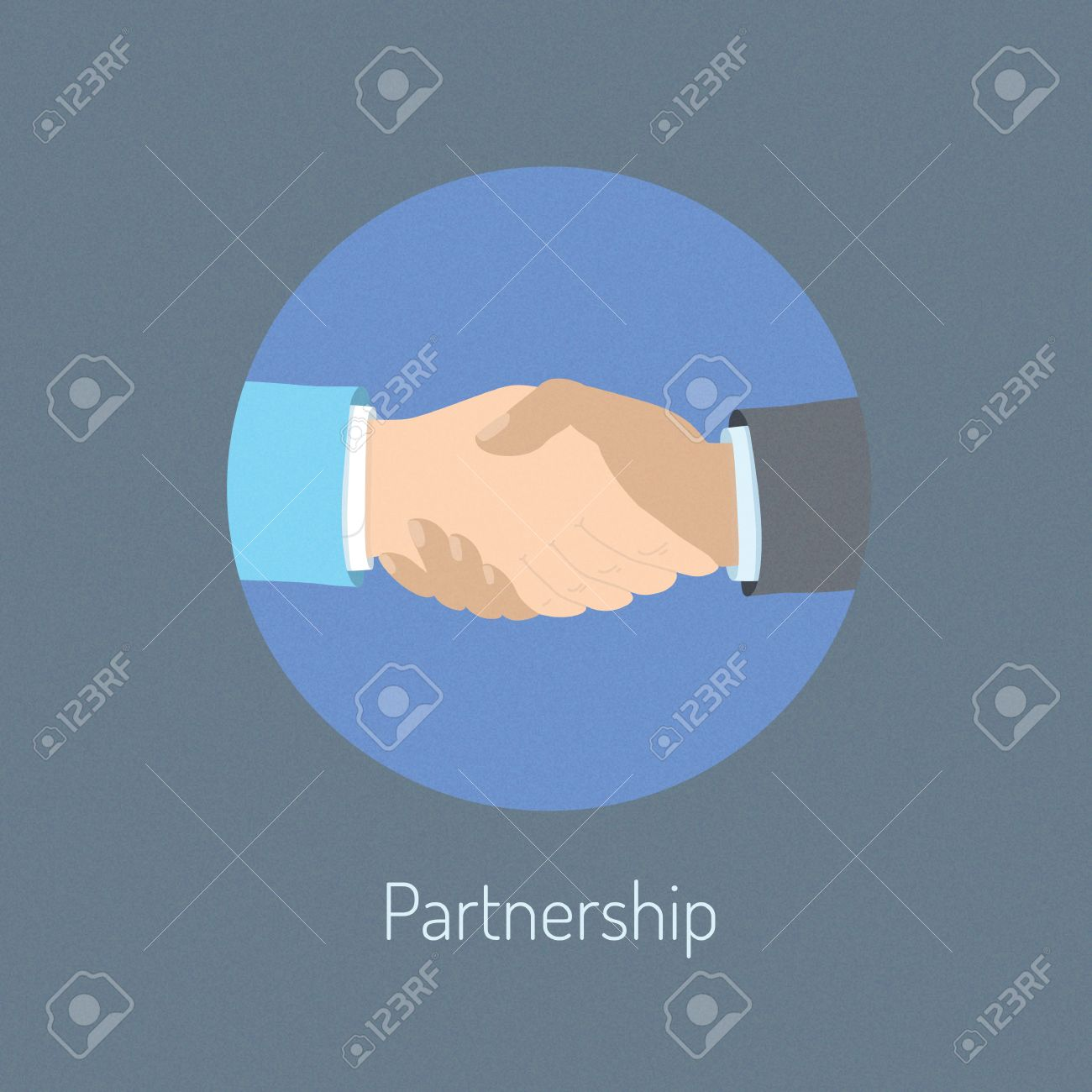 Flat design vector illustration poster concept of two business people hand shaking which  symbolizing partnership cooperation and success deal negotiation  Isolated on stylish background Stock Vector - 24027953