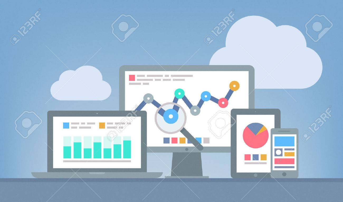 Flat design modern vector illustration concept of website analytics and SEO data analysis using modern electronic and mobile devices Isolated on grey background - 24027961
