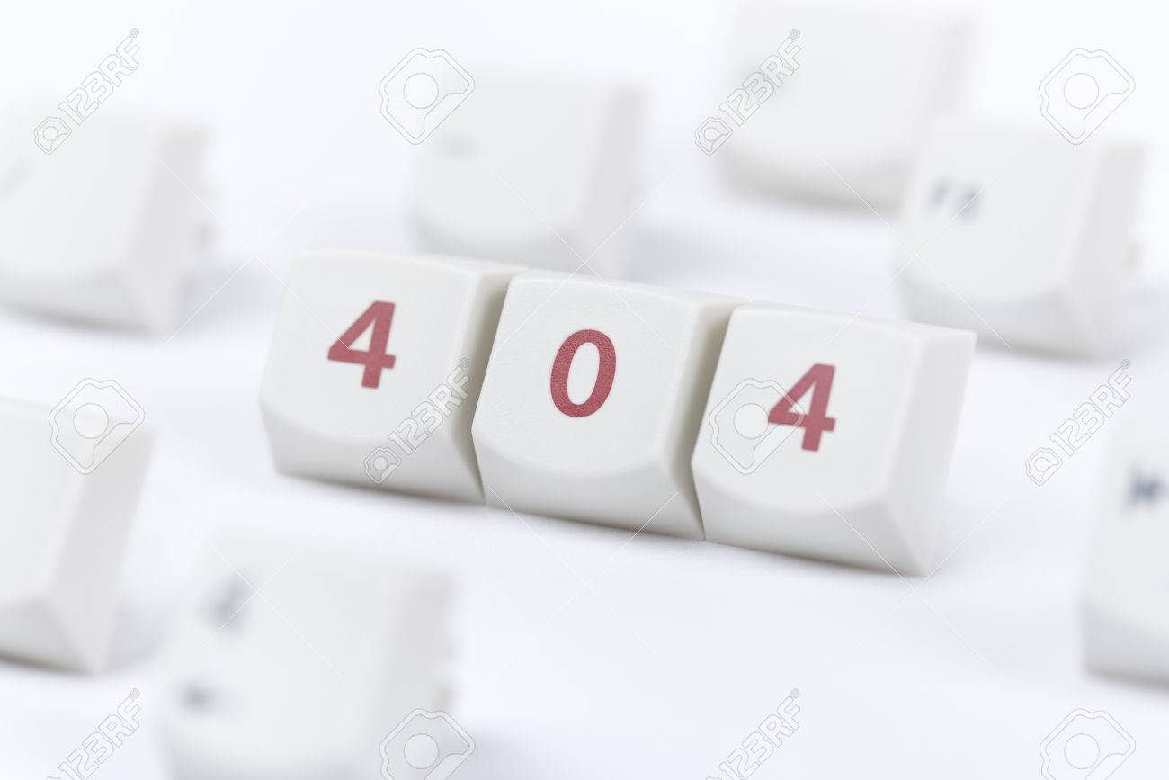 Background image 404 - Concept Of Computer Keyboard Button With 404 Web Page Error Message Sign On White Background Stock