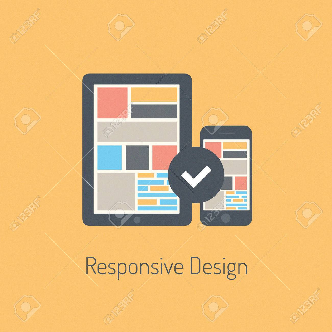 Flat design modern vector illustration concept of fully responsive user interface on digital tablet and mobile phone  Isolated on stylish colored background Stock Vector - 24407241