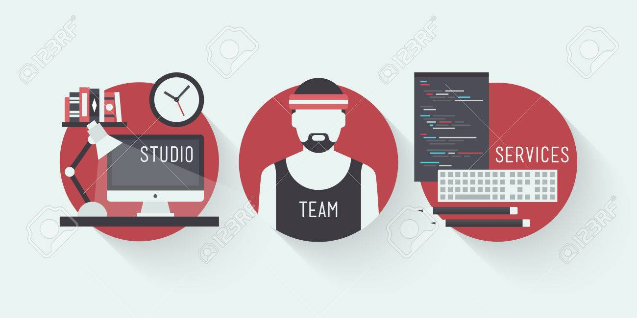 Flat design vector illustration icons set of modern web studio workplace, designer team concept and web page programming and coding with workflow objects  Isolated on stylish colored background Stock Vector - 24407248
