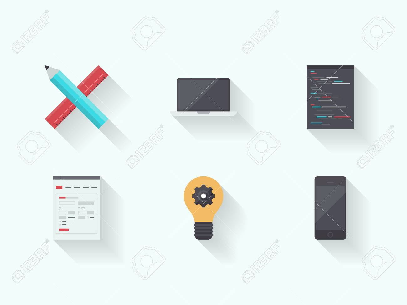 Flat design vector illustration icons set with long shadow of web page programming and user interface product development process design with modern technology devices  Isolated on white background Stock Vector - 24407246