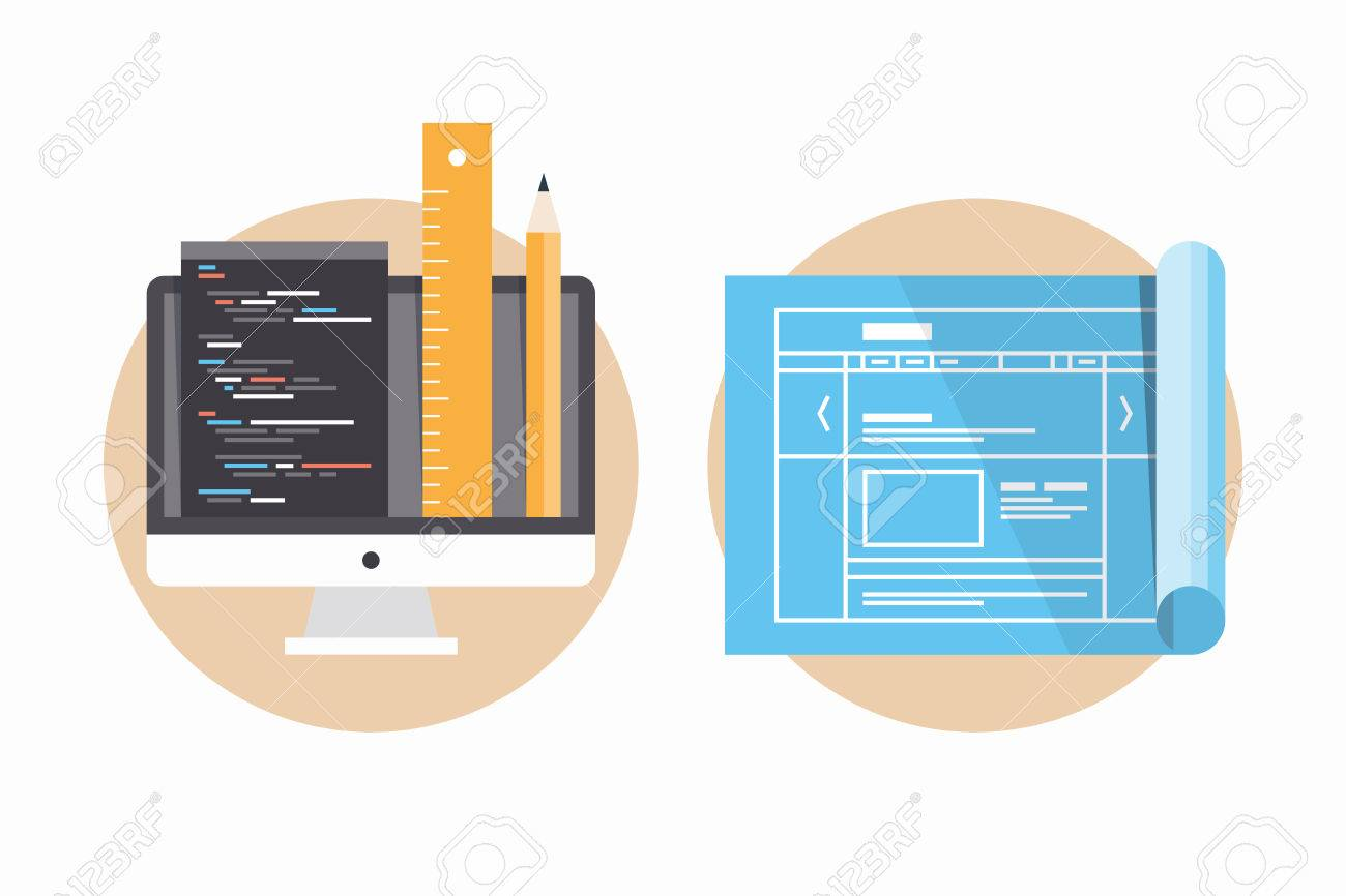Flat design modern vector illustration icons set of website flat design modern vector illustration icons set of website programming and coding web page blueprint malvernweather Choice Image