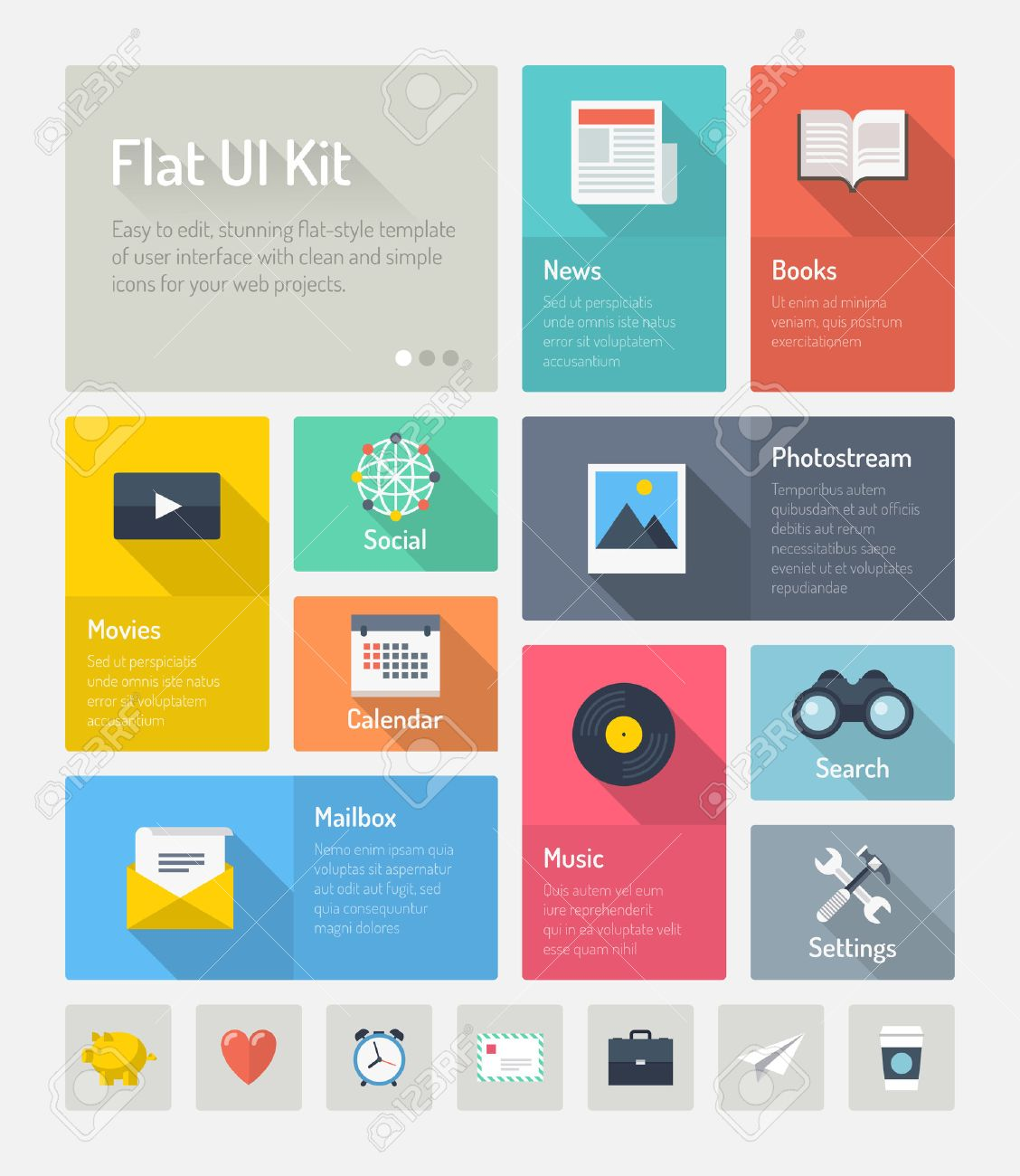 Flat design modern vector illustration concept of minimalistic stylish infographic webpage elements with icons set or abstract metro user interface kit with simple navigation for web project  Isolated on light gray background Stock Vector - 25125822