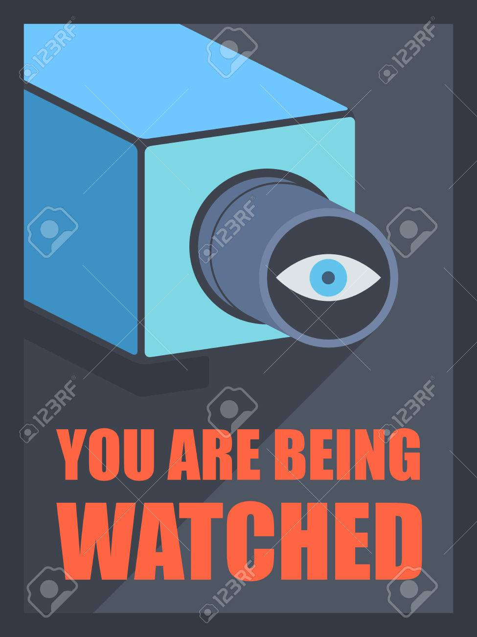 Flat design style modern vector illustration poster concept of video surveillance by the security service through CCTV camera, privacy control protection and public safety monitoring  Isolated on black background Stock Vector - 25514356
