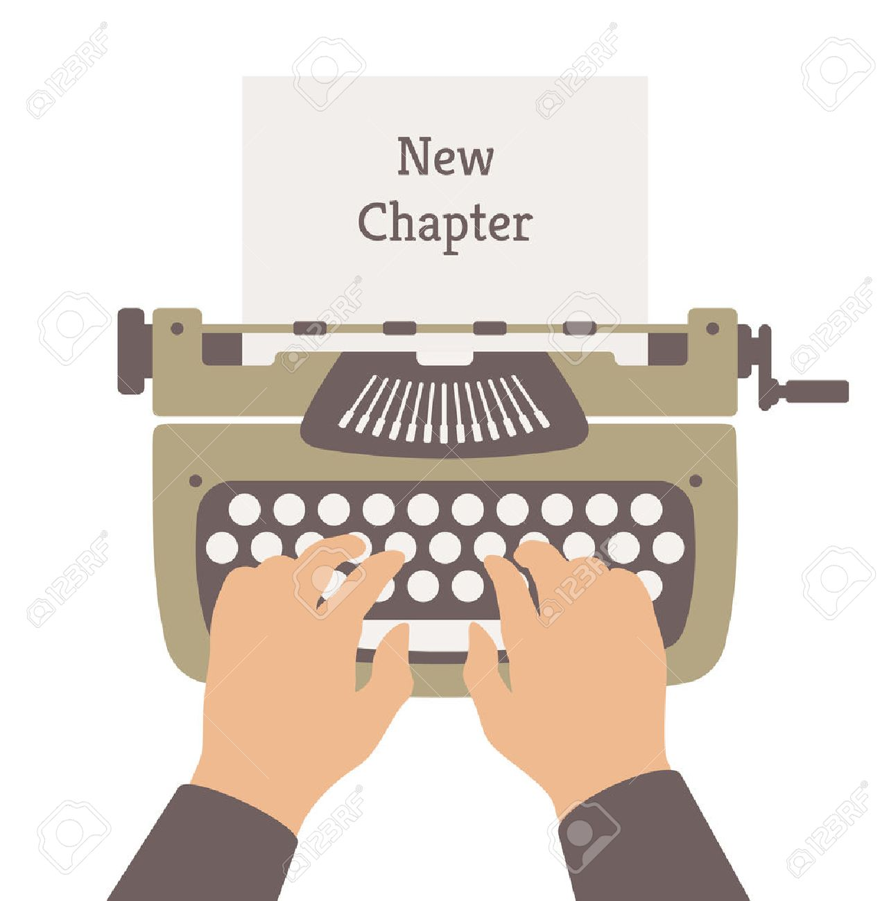 Flat design style modern vector illustration concept of author writing a new chapter in a novel story on a manual vintage stylish typewriter  Isolated on white background Stock Vector - 26073532