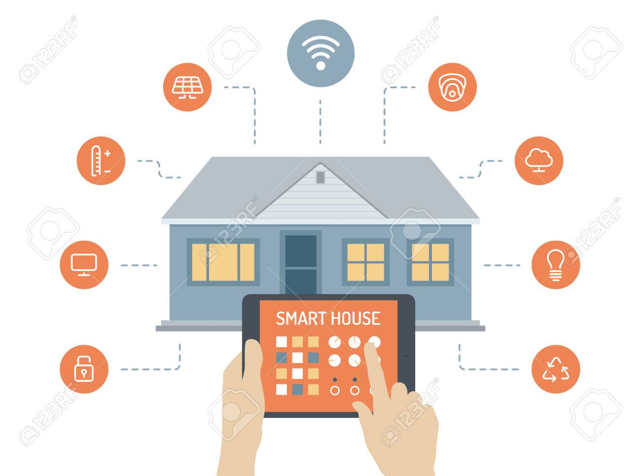 Flat Design Style Modern Vector Illustration Concept Of Smart House ...