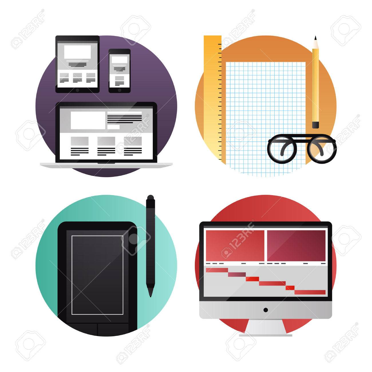 Flat icons set modern vector illustration concept of digital tablet, mobile phone and computer with web, graphic and video design process development  Isolated on white background Stock Vector - 26073568