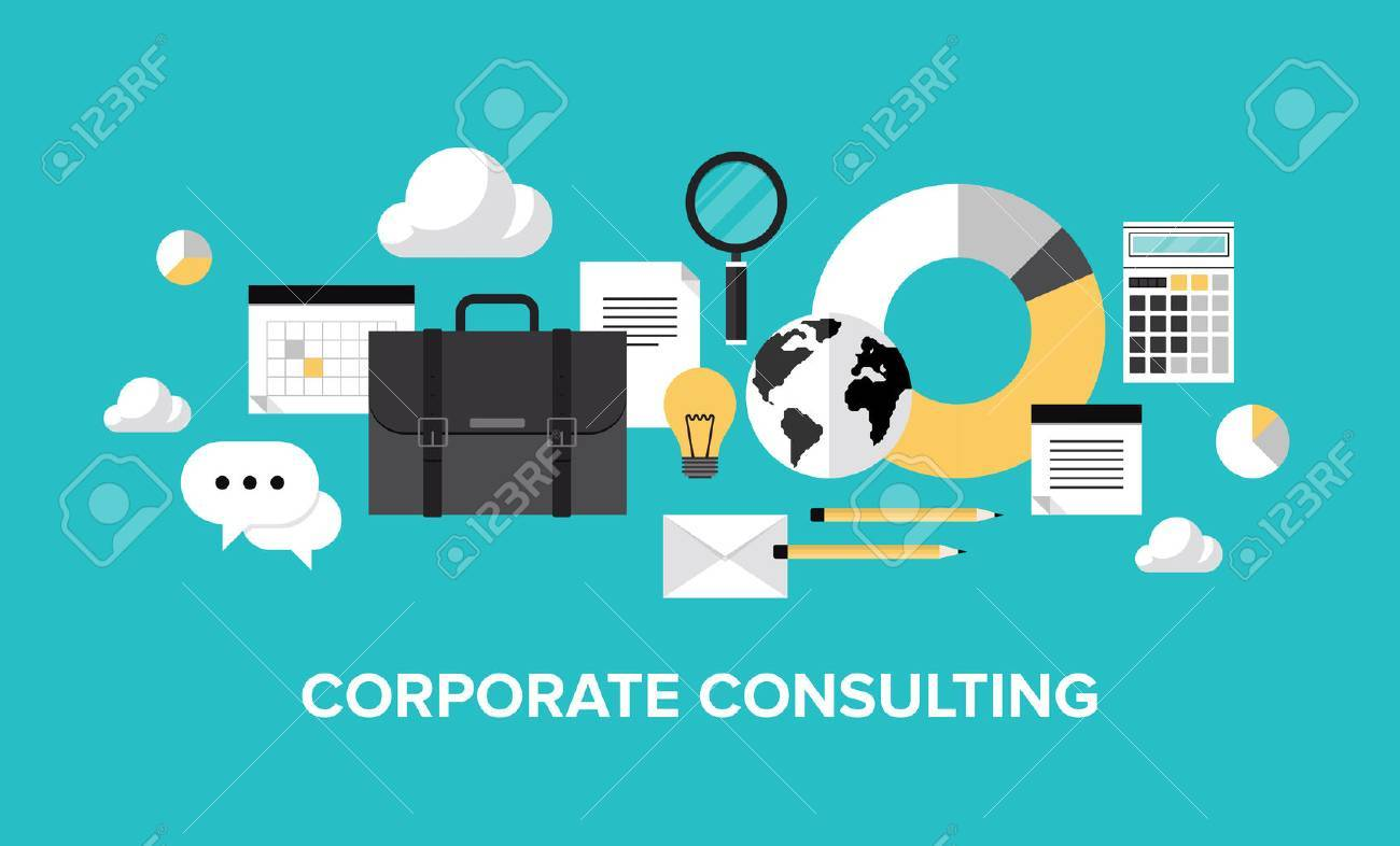 Flat design style modern vector illustration concept of corporate consulting  Isolate on stylish color background Stock Vector - 27416355