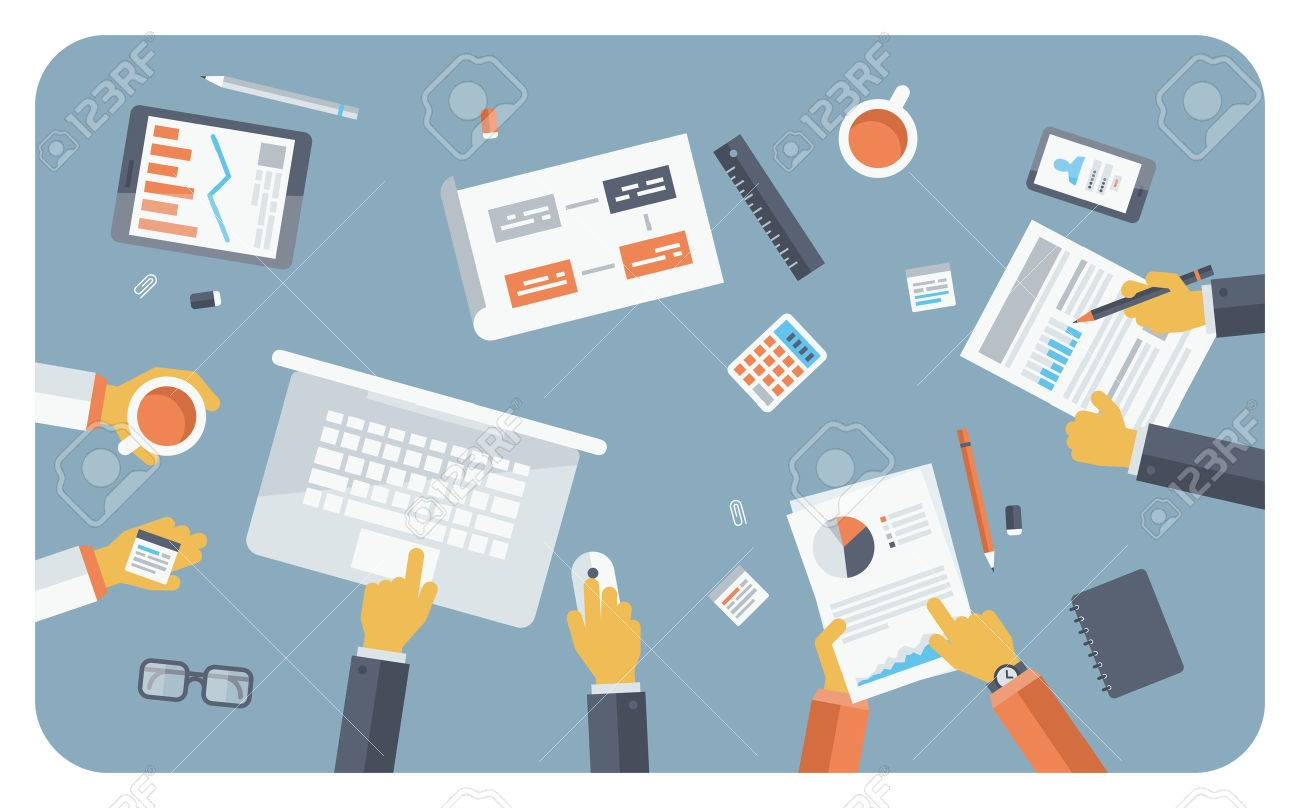 Flat design style modern vector illustration concept of teamwork consulting on briefing, small business project presentation, group of people planning and brainstorming ideas of company financial strategy - 27416399