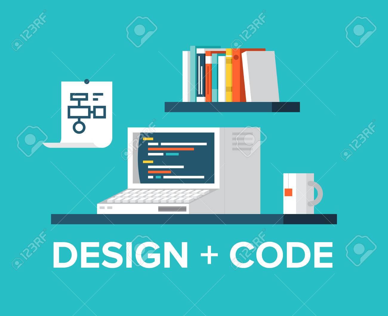 Style Design Plat Illustration Vectorielle Moderne Concept De Lieu De  Travail De Bureau Avec Rétro Ordinateur, Code De Programmation Sur Un  écran, ... b01b0f6a4680