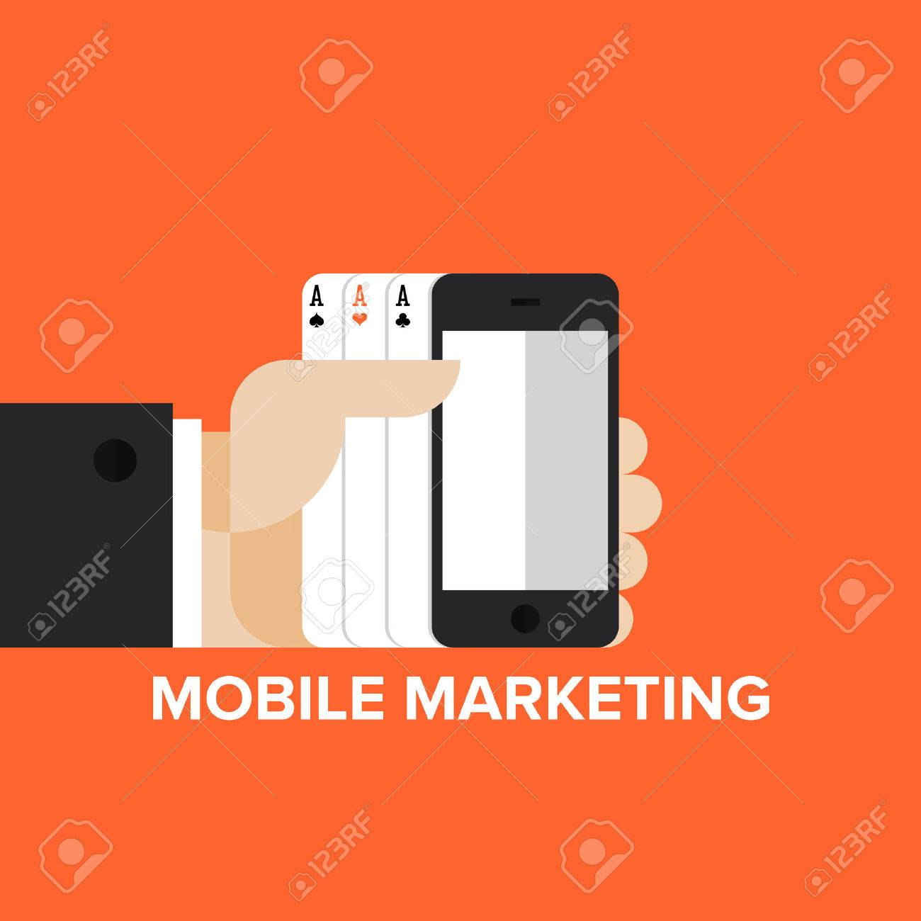 Mobile marketing strategy, sms and text advertising and mobile apps in-game advertisement. Flat design style modern vector illustration concept. Isolated on stylish background. Stock Vector - 28469408