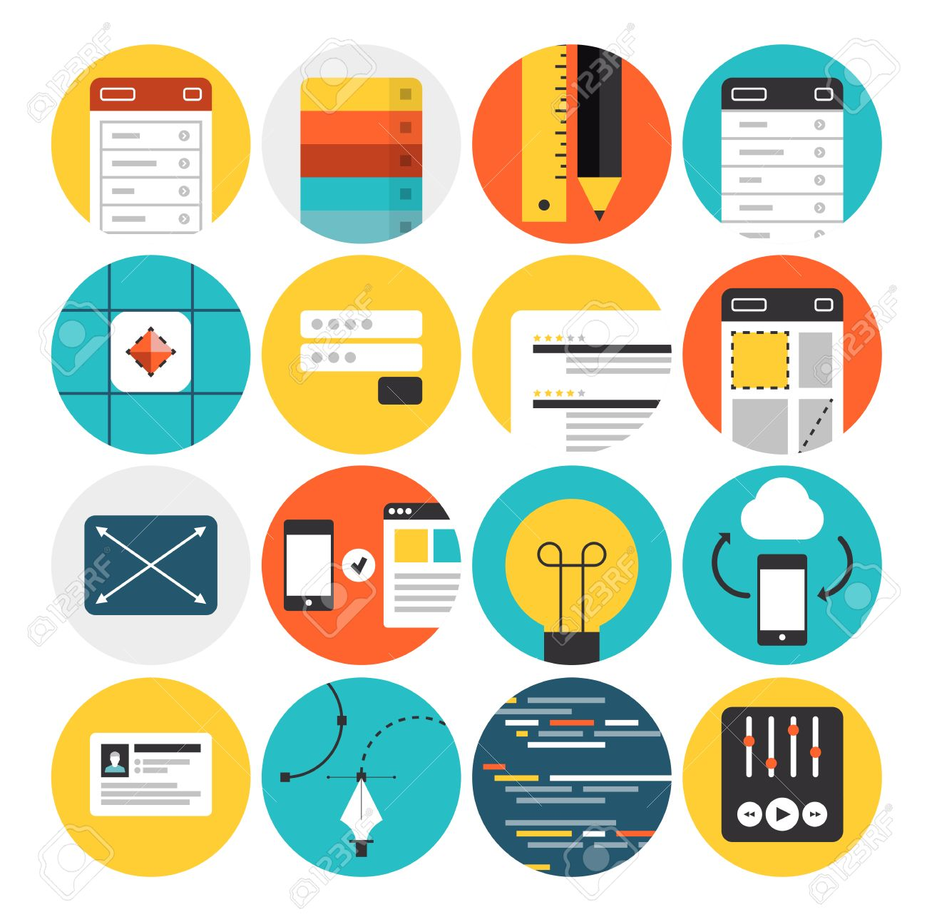 Flat icons set of web design and website development process, mobile user interface prototyping, graphic design sketching workflow. Flat design modern vector illustration concept. Isolated on white background. Stock Vector - 28993066
