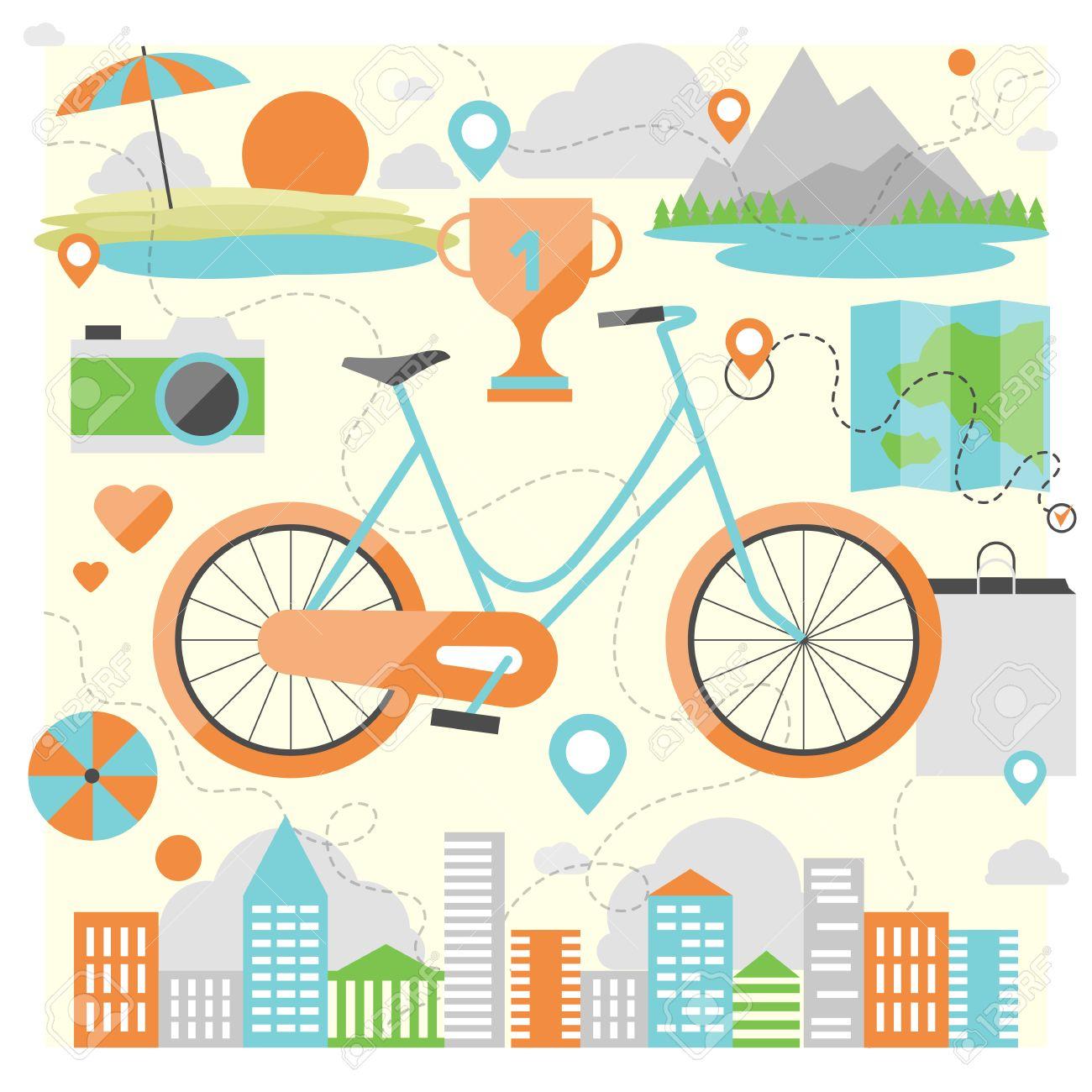 屋外の様々 な場所で、自転車に...