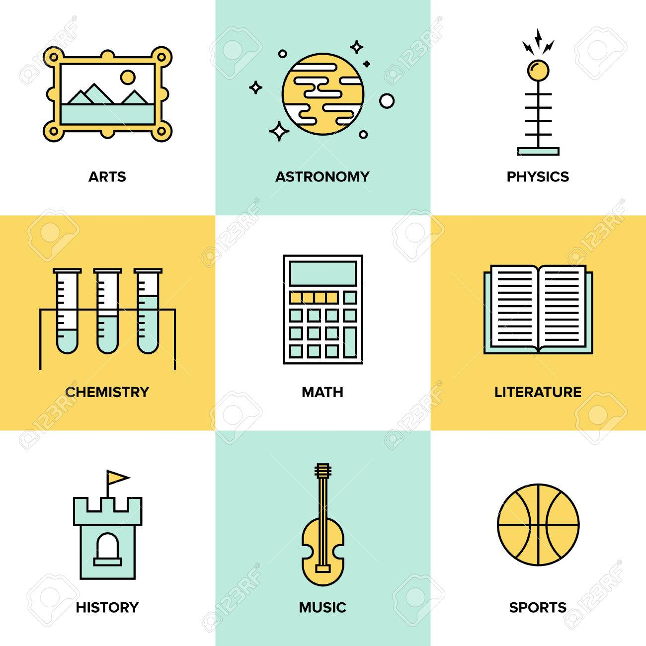 flat line icons set of education main subjects schooling symbol flat line icons set of education main subjects schooling symbol and learning elements studying