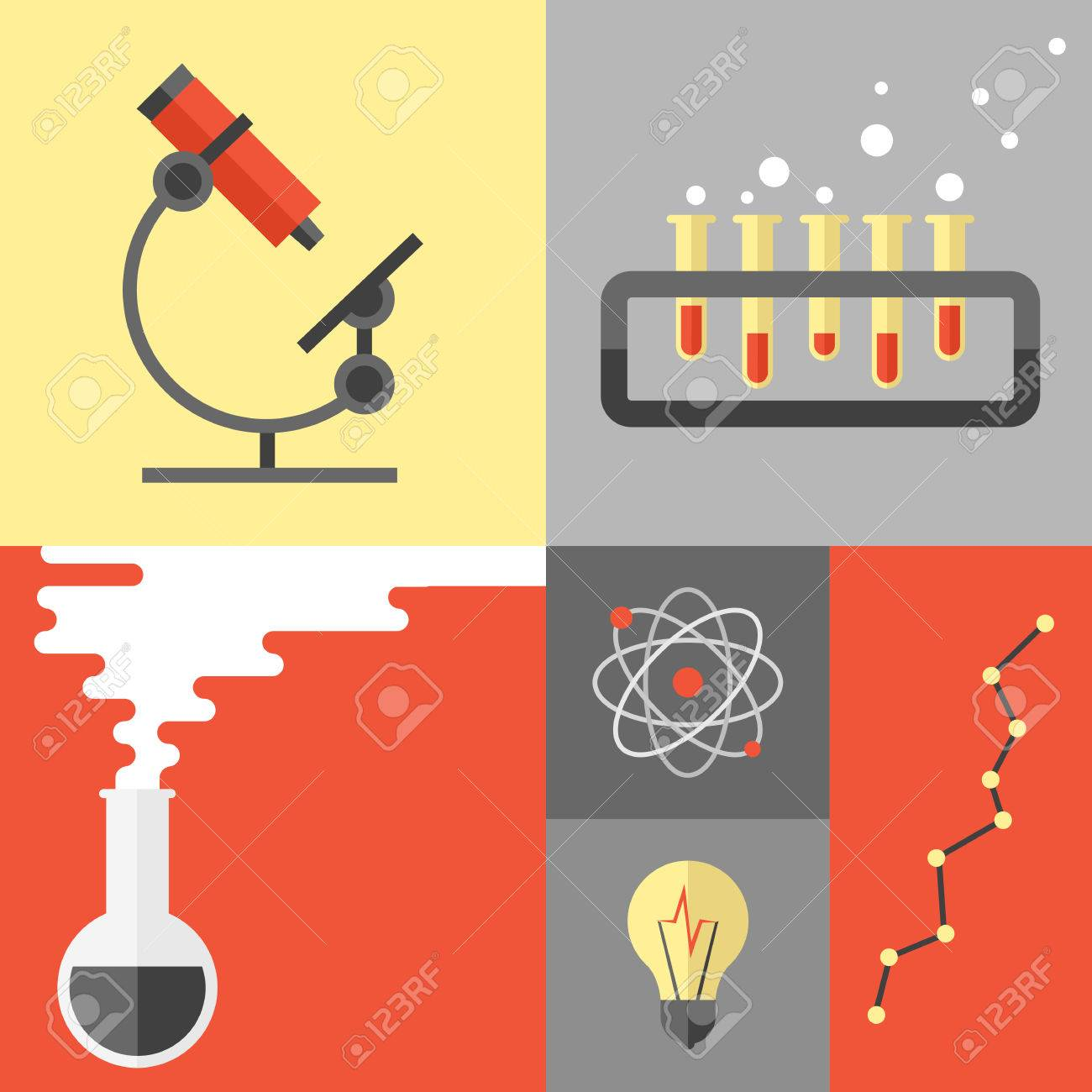 flat design poster of science experiment and research analysis