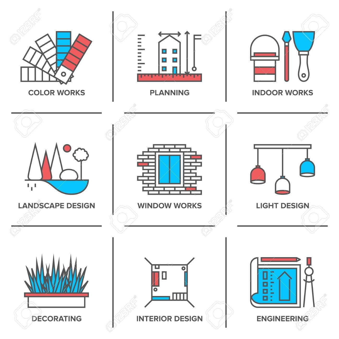 Flat Line Icons Set Of Interior Design Free Download