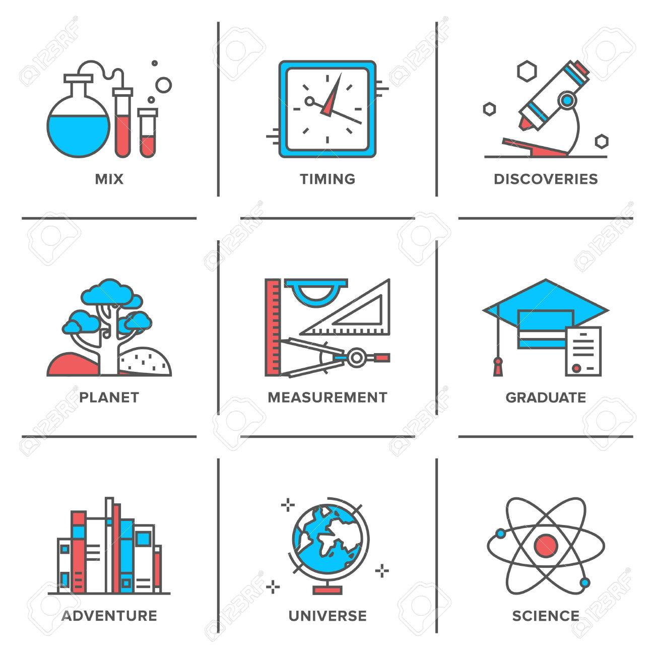 Flat line icons set of discovery new things, school measurement items, science and chemistry, planet adventures, planet geography. Stock Vector - 32769897