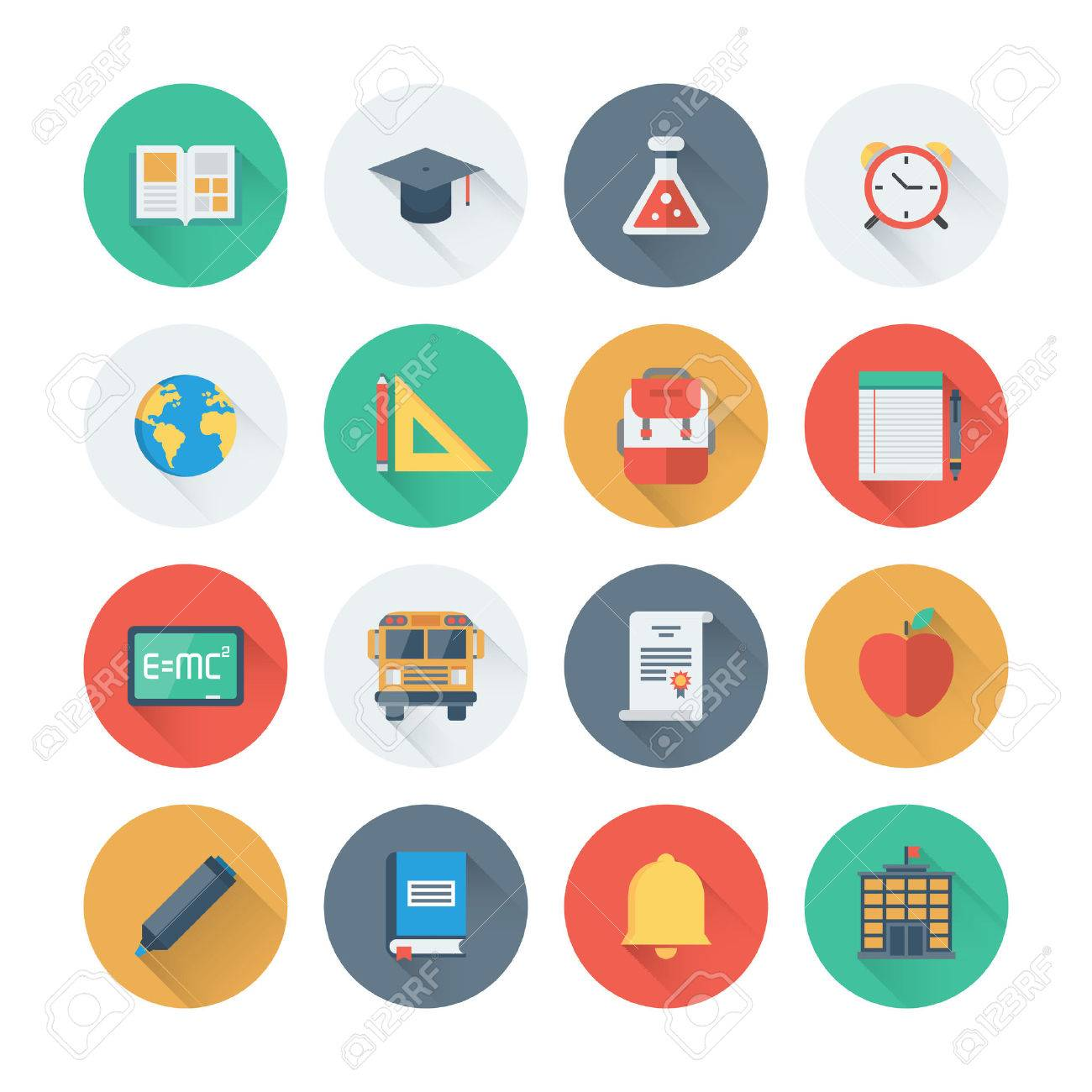 Pixel perfect flat icons set with long shadow effect of elementary school objects and education items, learning symbol and student equipment. Flat design style modern pictogram collection. Isolated on white background. Stock Vector - 33020838