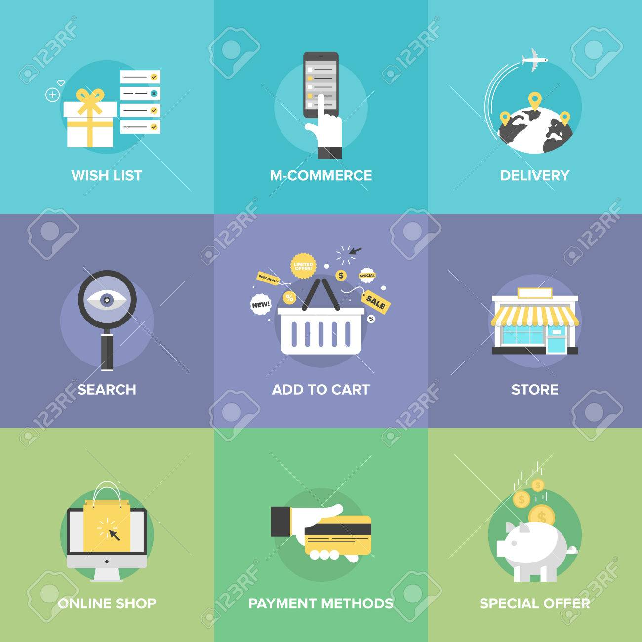 Flat icons set of online shopping services e commerce checkout flat icons set of online shopping services e commerce checkout payments add to altavistaventures Images