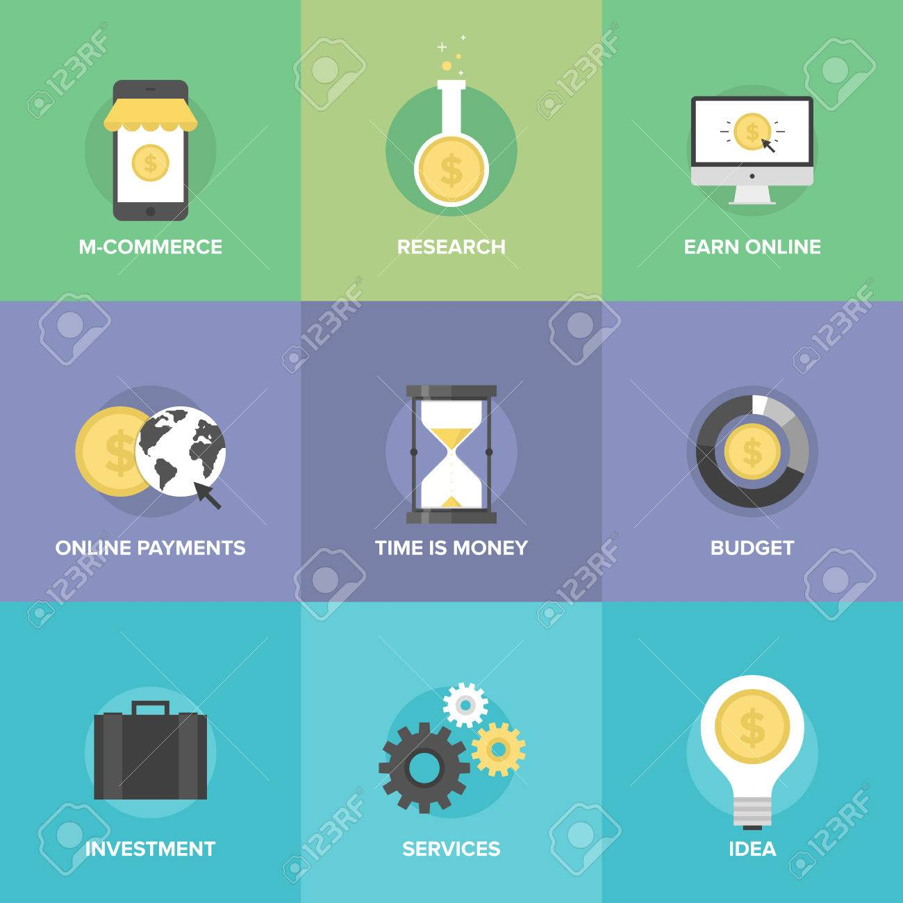 flat icons set of mobile commerce online payments internet earnings budget planning