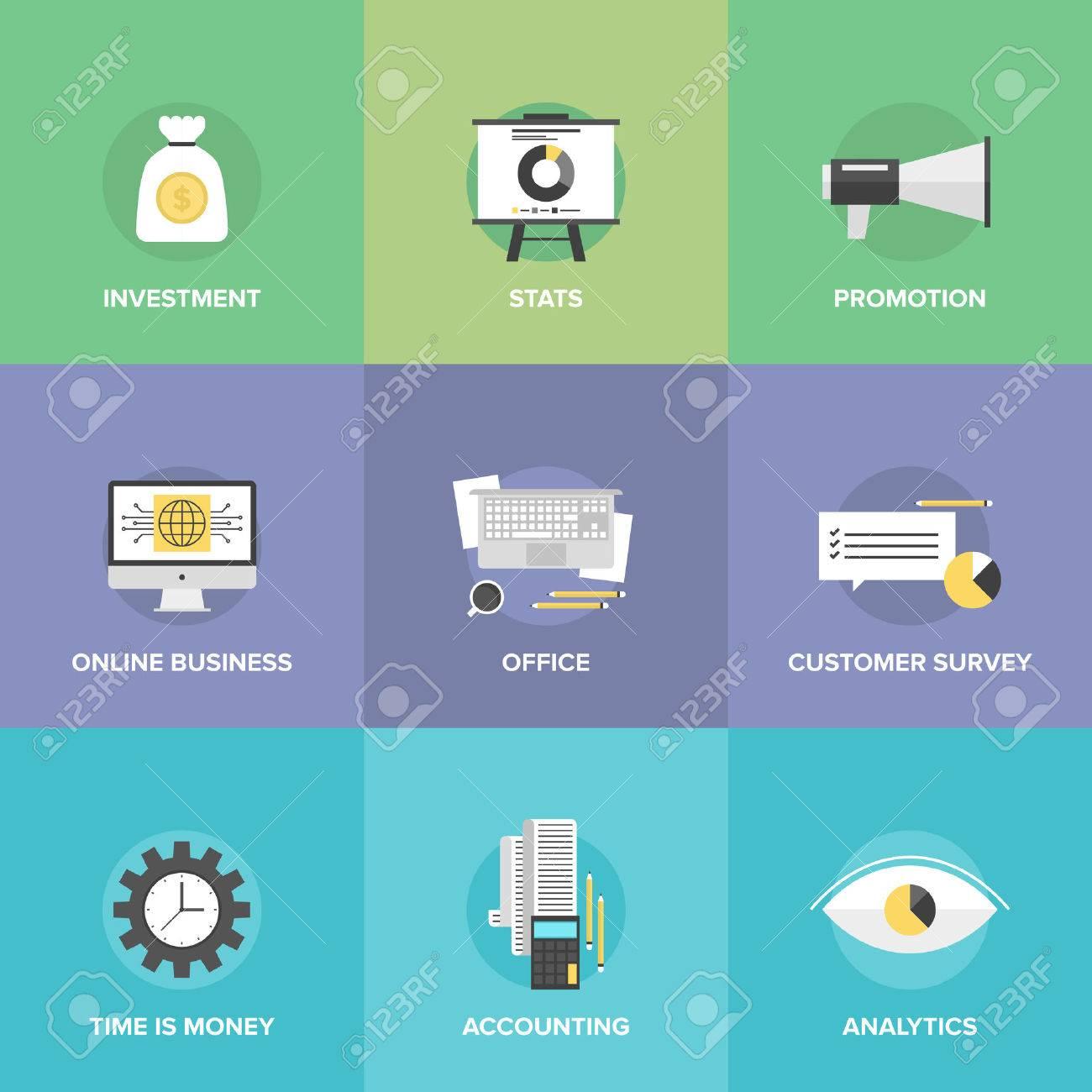 Iconos Planos Del Sistema De Dinero A Invertir, La Contabilidad De ...