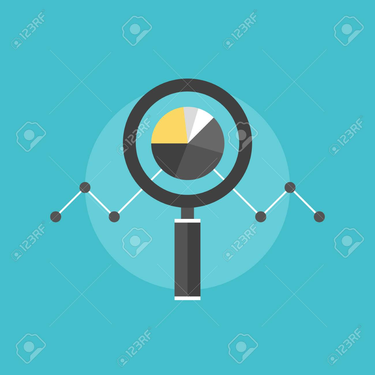 Marketing data analytics, analyzing statistics chart, magnifying glass with stock market graph figures. Flat icon modern design style vector illustration concept. - 33664106