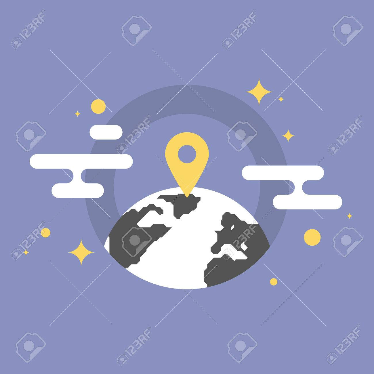 navigation mark on a world map global office location business placement pointer flat