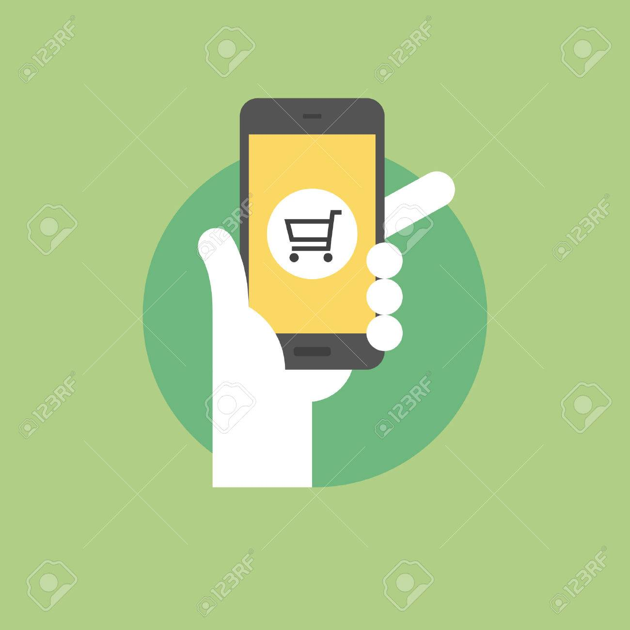 Mobile shopping concept, hand holding smartphone with retail application. Flat icon modern design style vector illustration concept. - 34138080