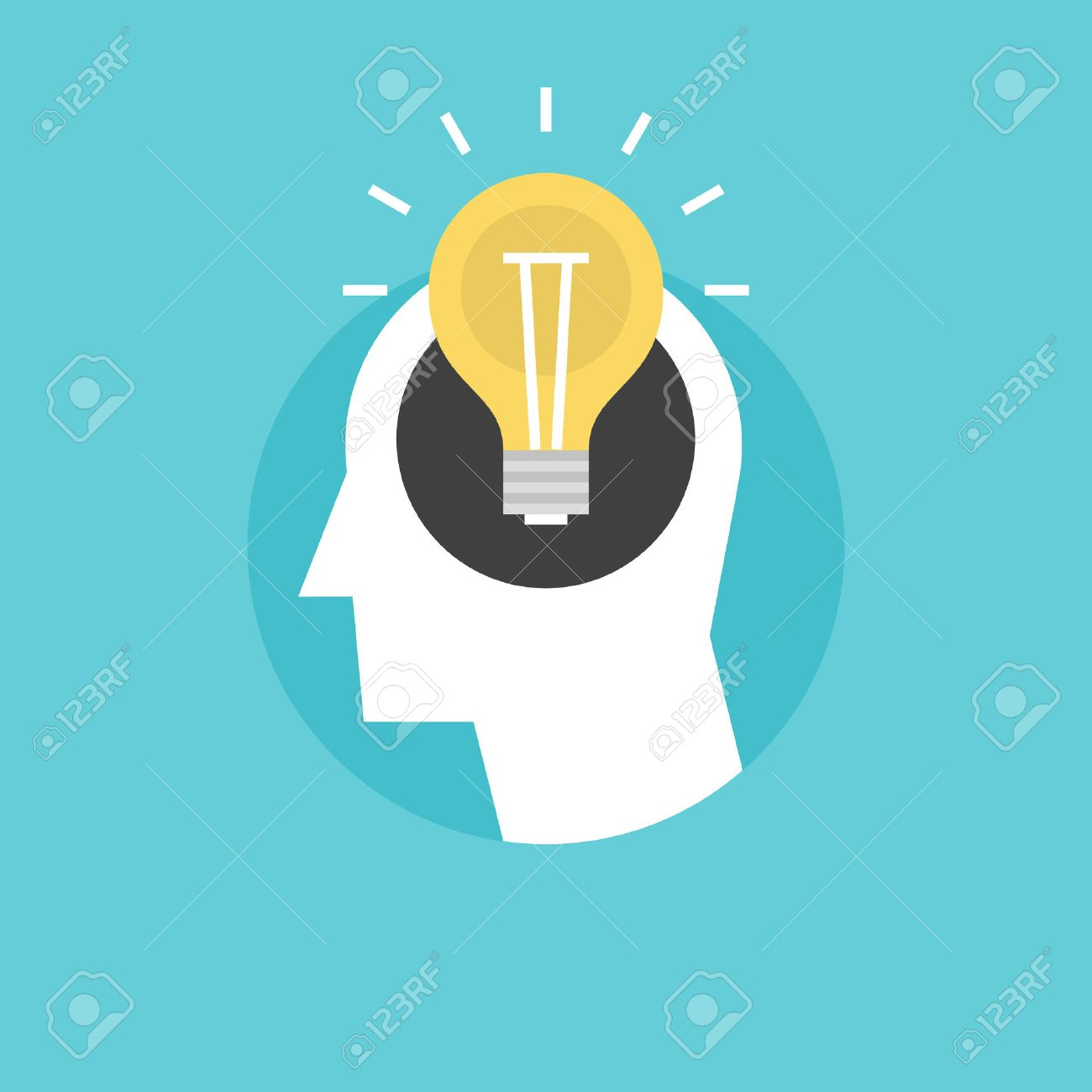 New bright idea form human head, thinking about success solution, lightbulb as creativity metaphor. Flat icon modern design style vector illustration concept. - 34138245