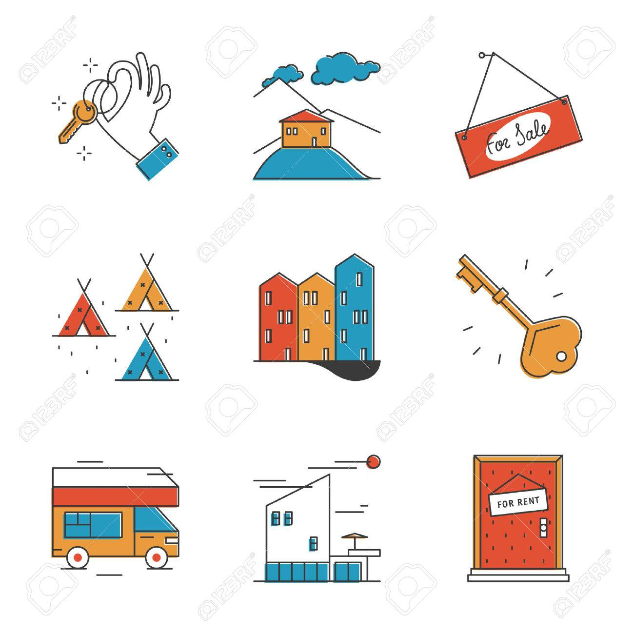 Nice Abstract Icons Of House Rental Service, Search Real Estate, Rest In Camping  And Recreation