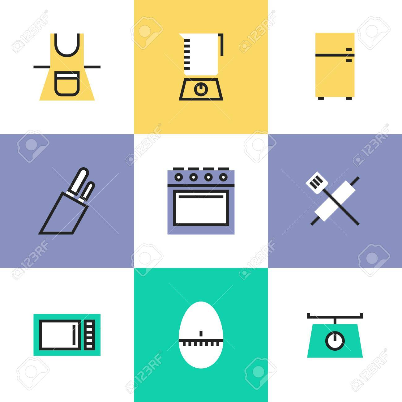 Küchengeräte Und Geschirr Elektronik Für Jede Küche Oder Zubereitung Von  Speisen Aufgabe. Ungewöhnliche Linie Symbole