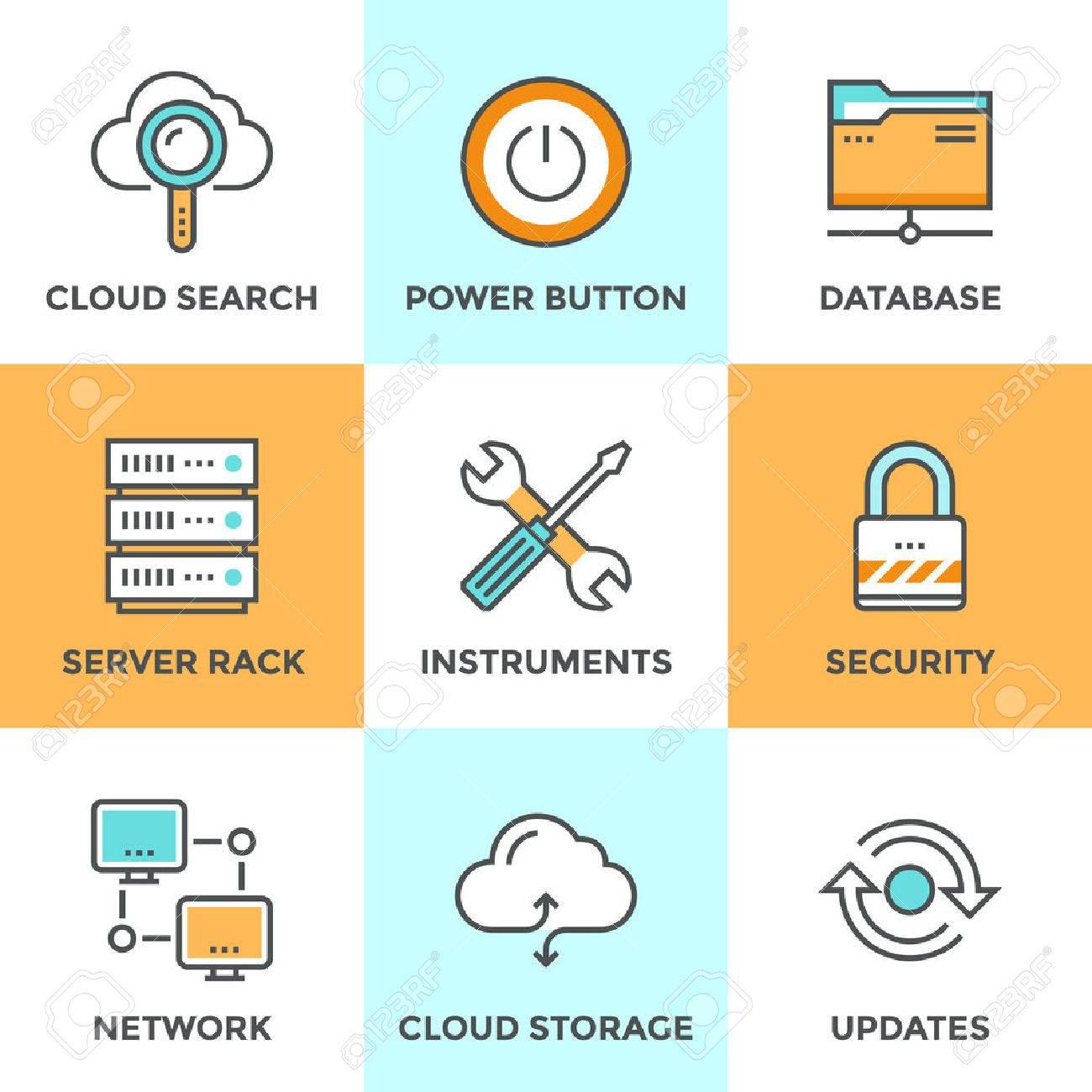 Captivating Line Icons Set With Flat Design Elements Of Cloud Computing Communication  Technology, Internet Hosting Service