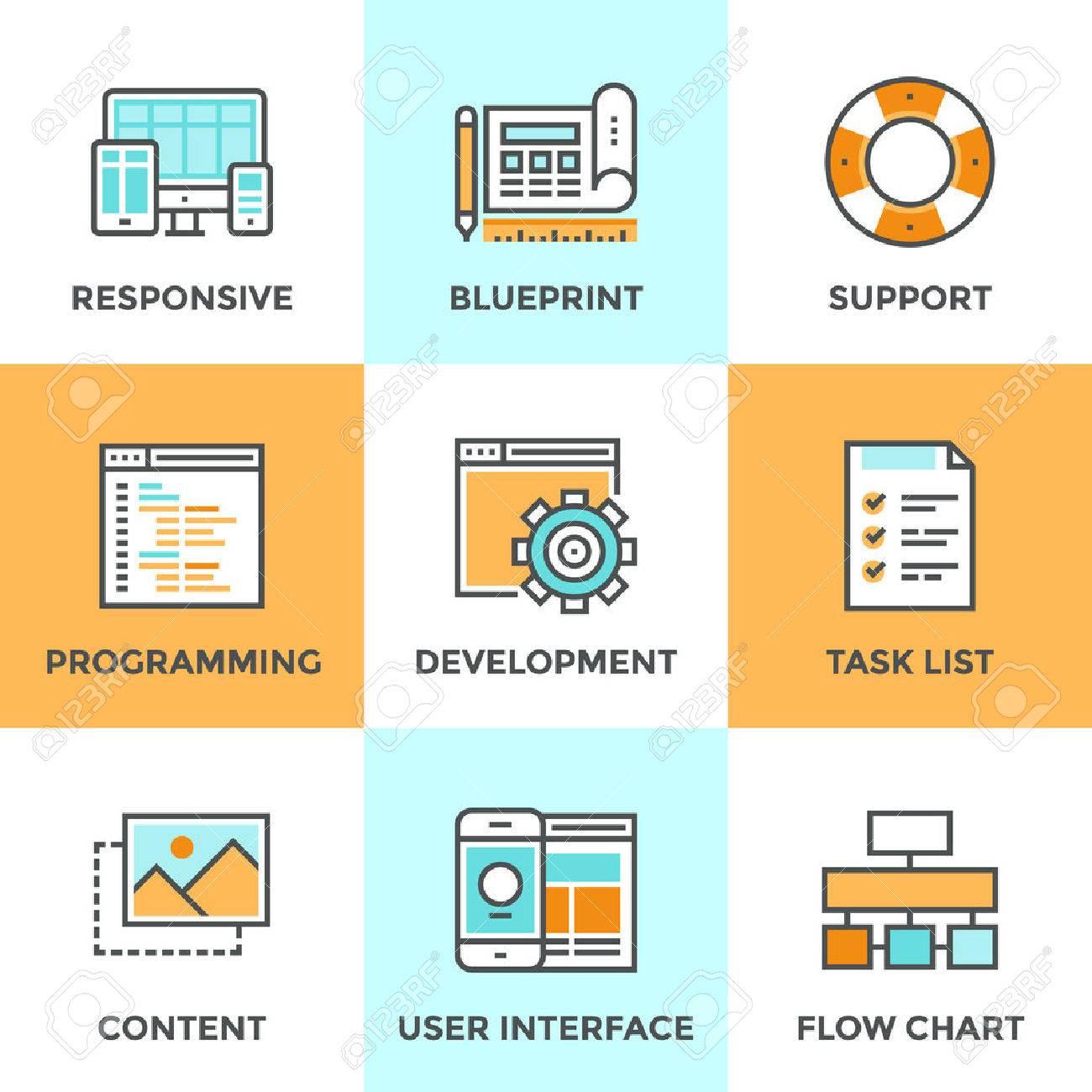 Icônes De Ligne De Conduite Avec Des éléments De Conception De Plates Service Réactif De Développement Web Processus De Programmation De Site