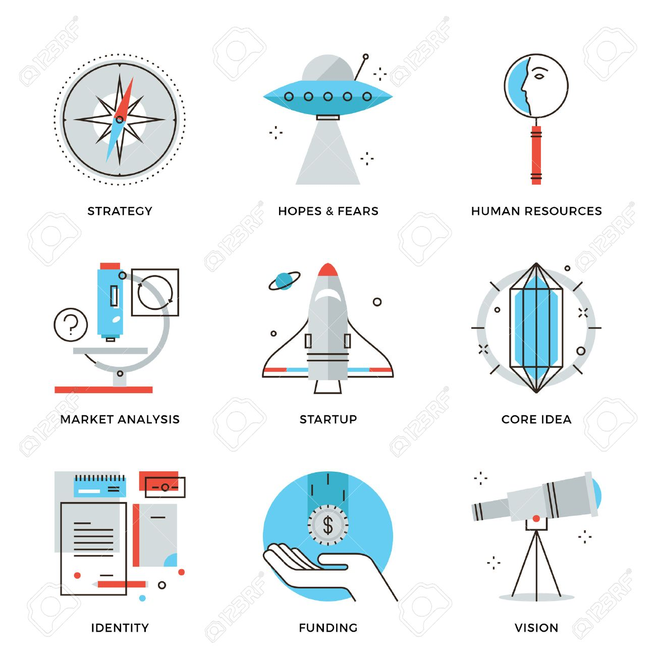 Thin line icons of startup key elements, new brand development, small business growth, market research and company vision. Modern flat line design element vector collection logo illustration concept. - 36645116