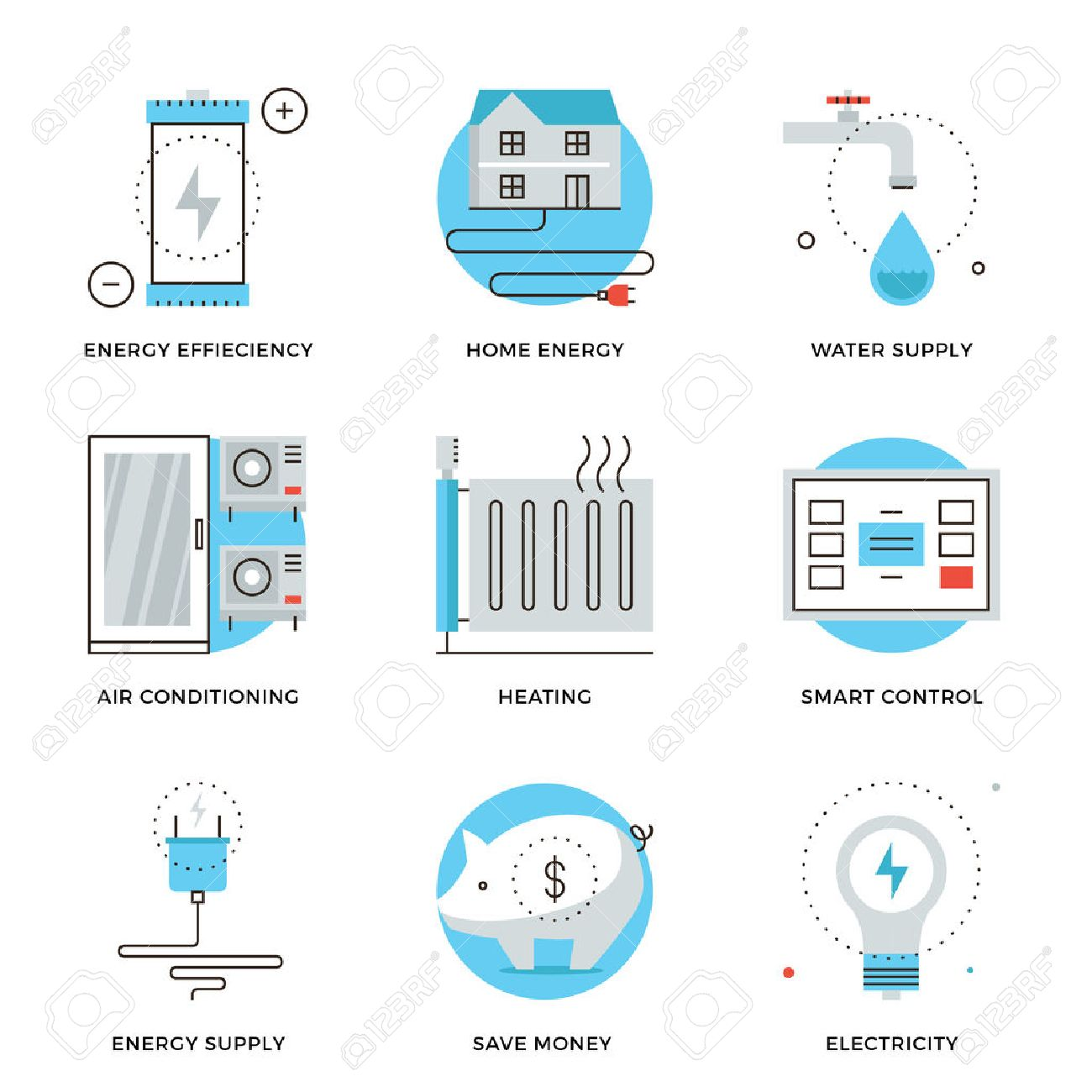 Thin Line Icons Of Internet Of Smart House Technology System