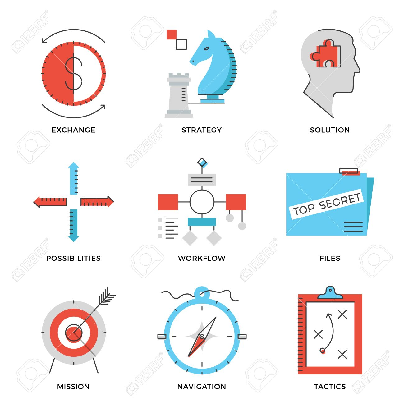 thin line icons of business effective solution success tactics thin line icons of business effective solution success tactics position and strategy decision long