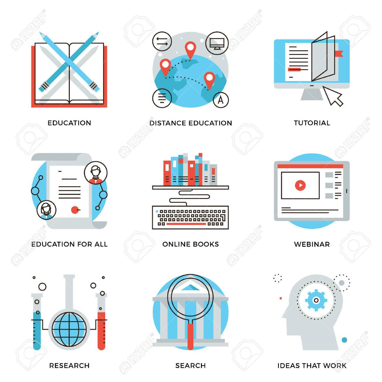 Thin line icons of global education form online webinar video thin line icons of global education form online webinar video tutorial certificate of xflitez Gallery