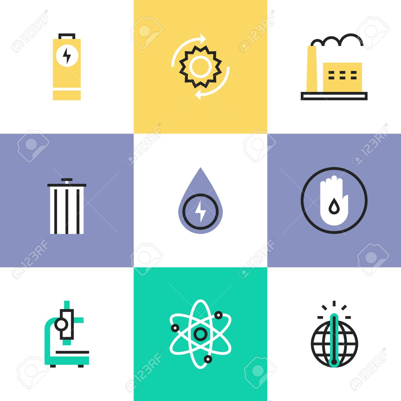 Flat Line Icons Of World Energy Conservation, Global Warming ...