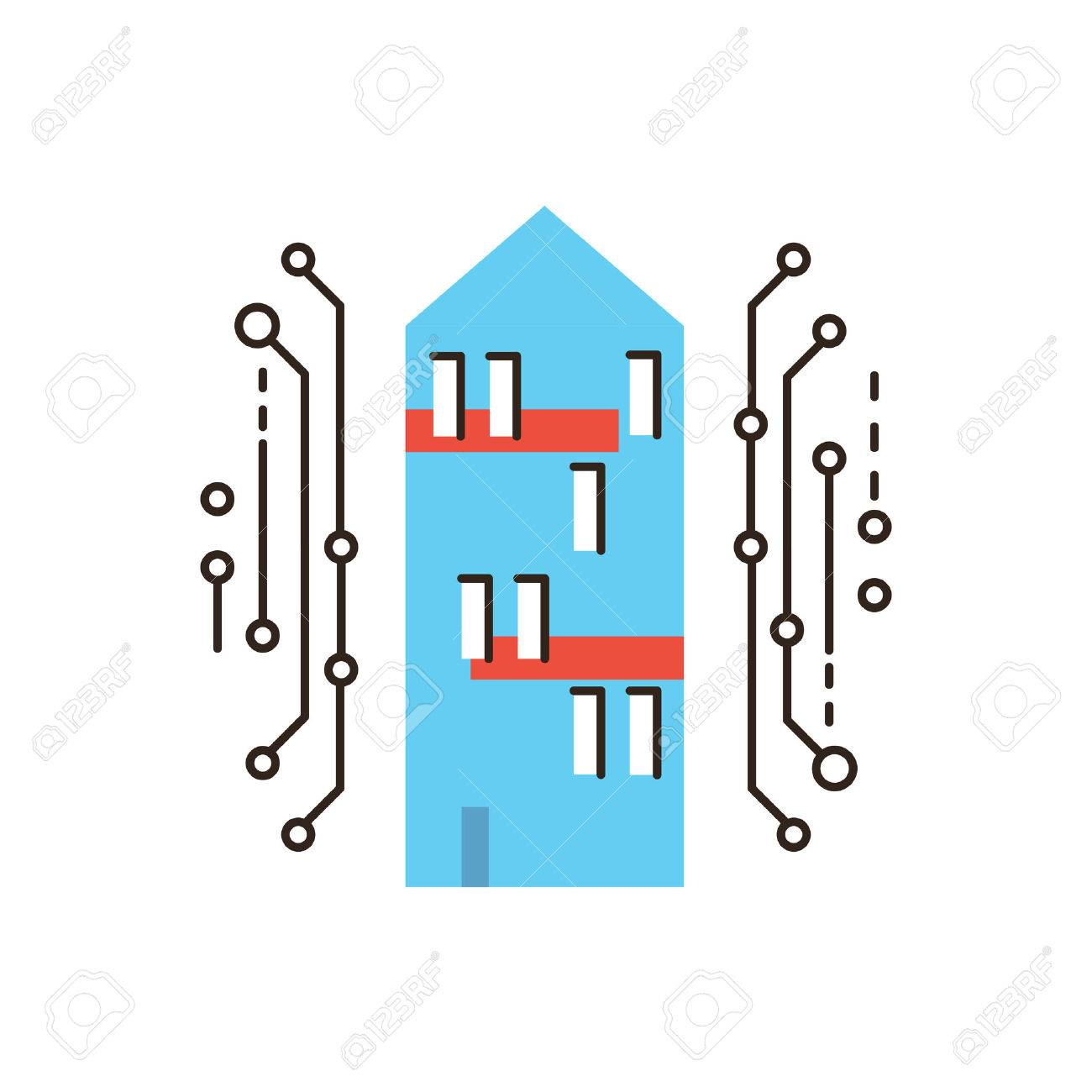 Thin Line Icon With Flat Design Element Of Smart Home, Digital ...