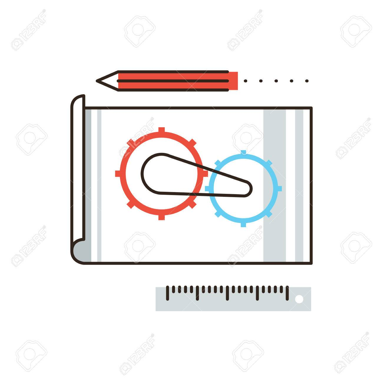 Thin line icon with flat design element of engineering construction thin line icon with flat design element of engineering construction planning cogwheel processing technical malvernweather Choice Image