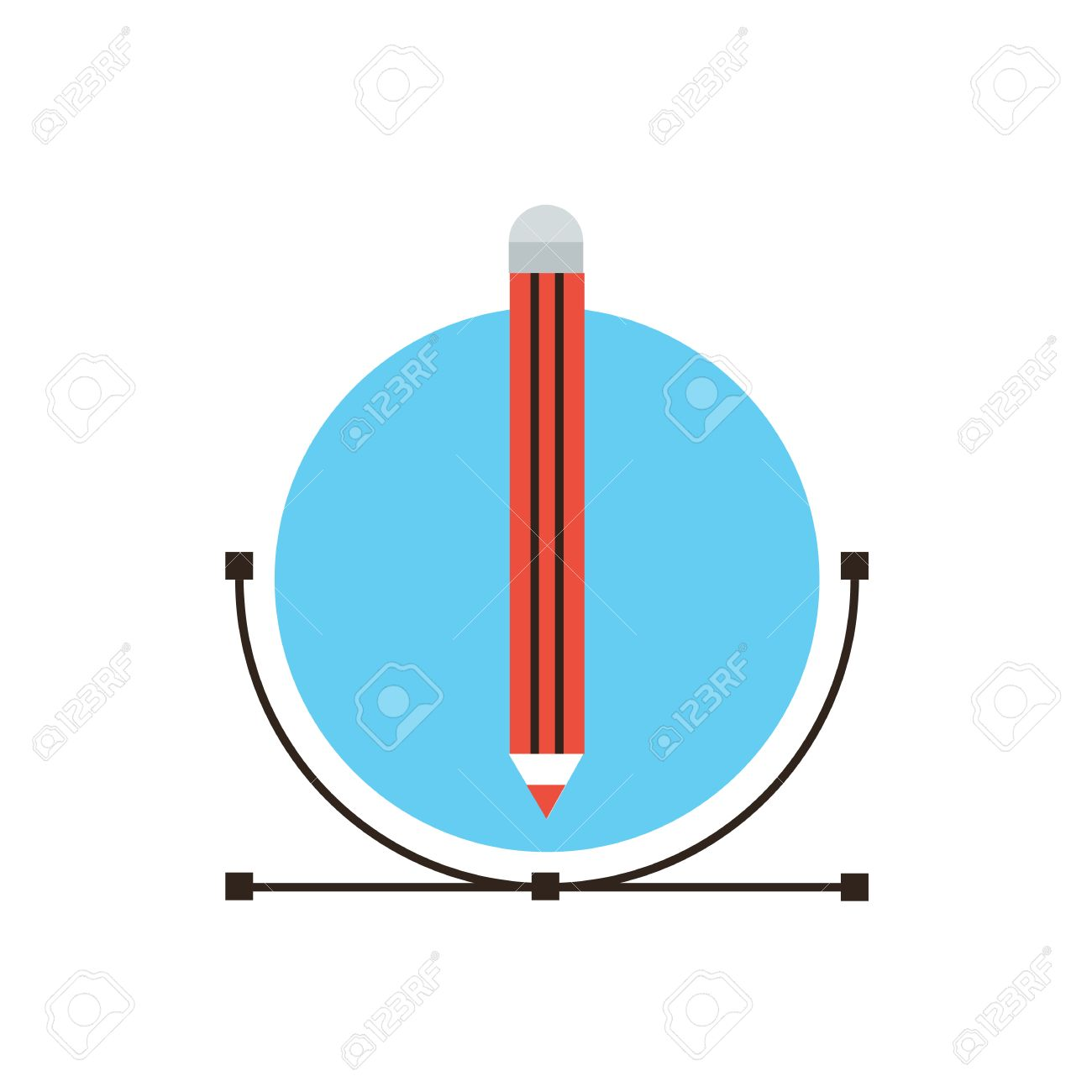 thin line icon with flat design element of graphic design drawing