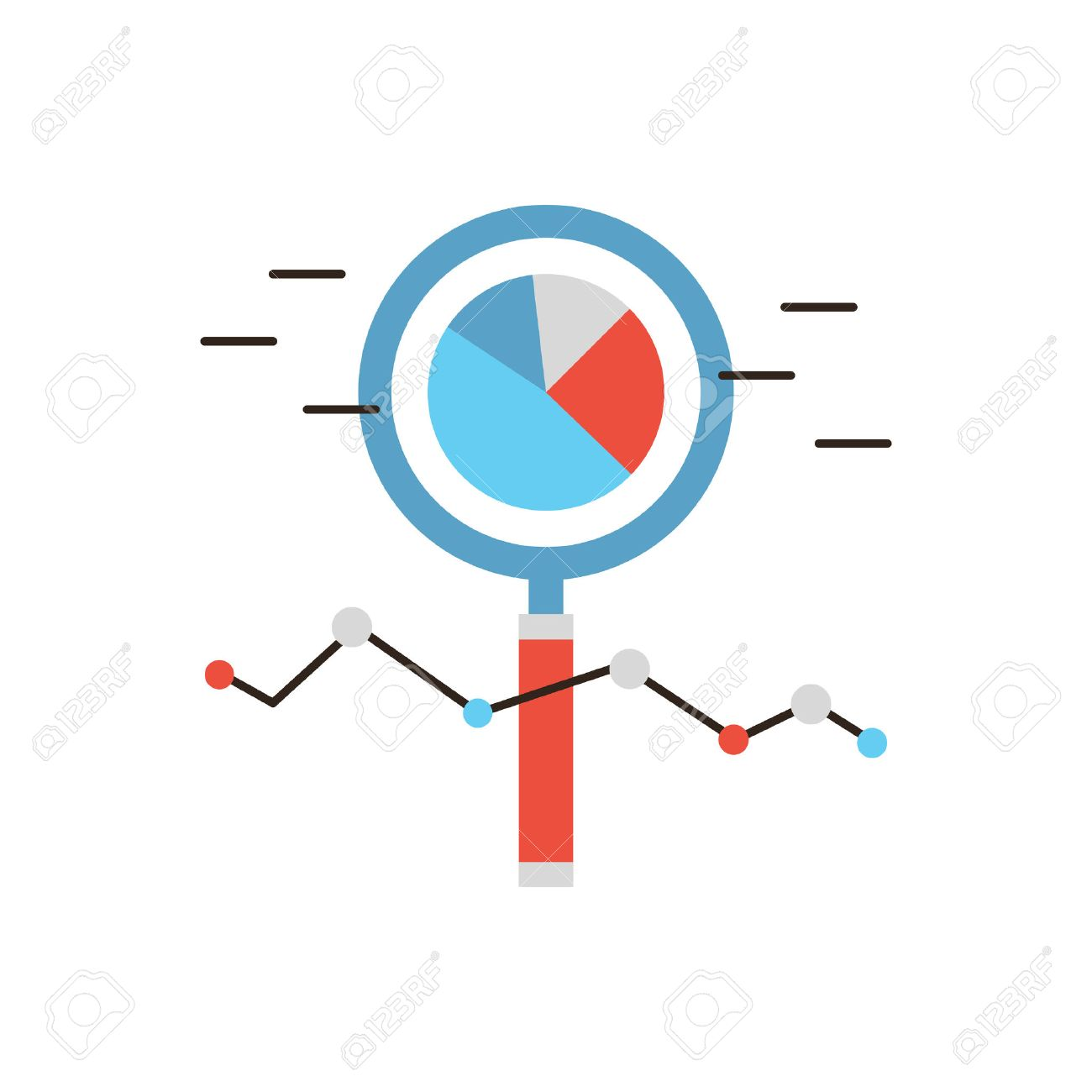 Thin Line Icon With Flat Design Element Of Market Analysis, Business  Infographics, Statistics Data