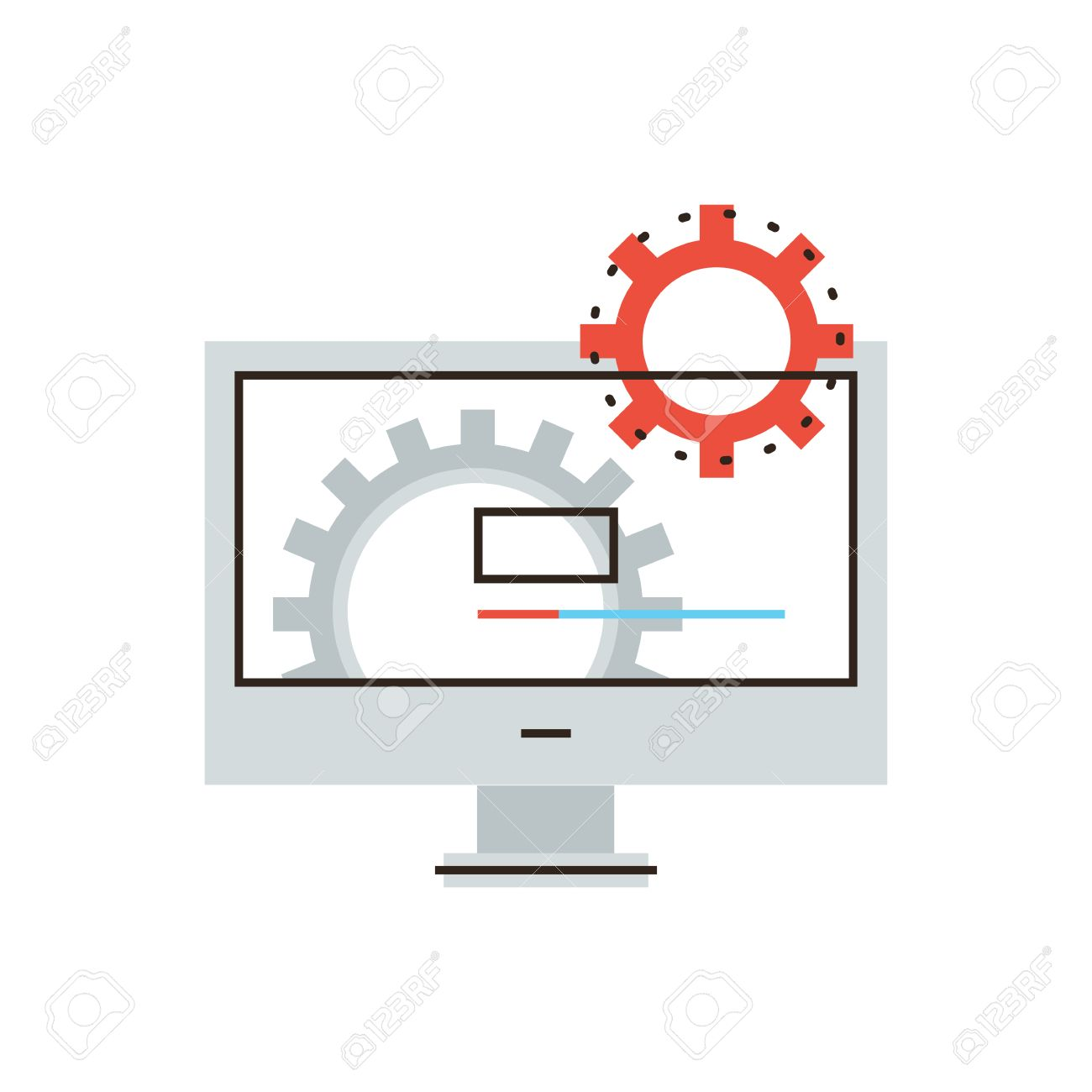 Thin line icon with flat design element of working computer, install new software, operating system, update support, mechanism works. - 38398764