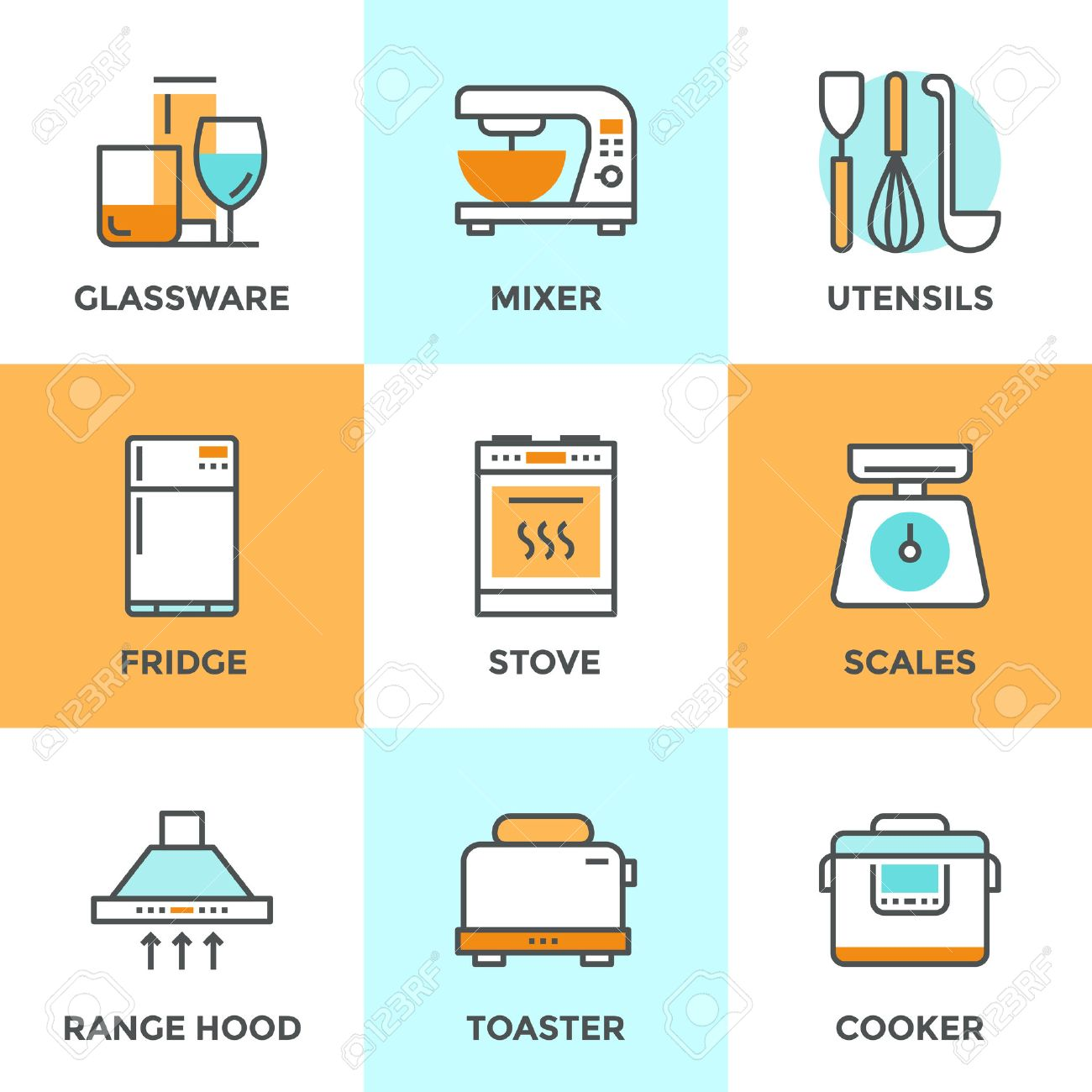 Line Icons Set With Flat Design Elements Of Kitchen Utensils ...