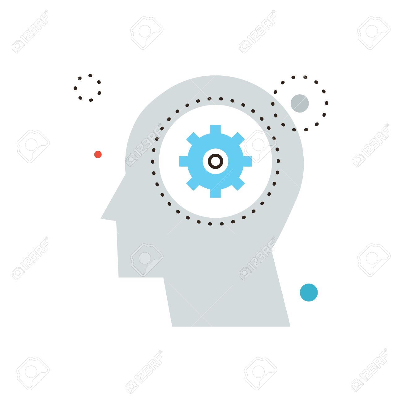 Thin line icon with flat design element of think decision, human head, gain knowledge, work of brain, process of thinking, develop mind. Modern style logo vector illustration concept. - 38864831