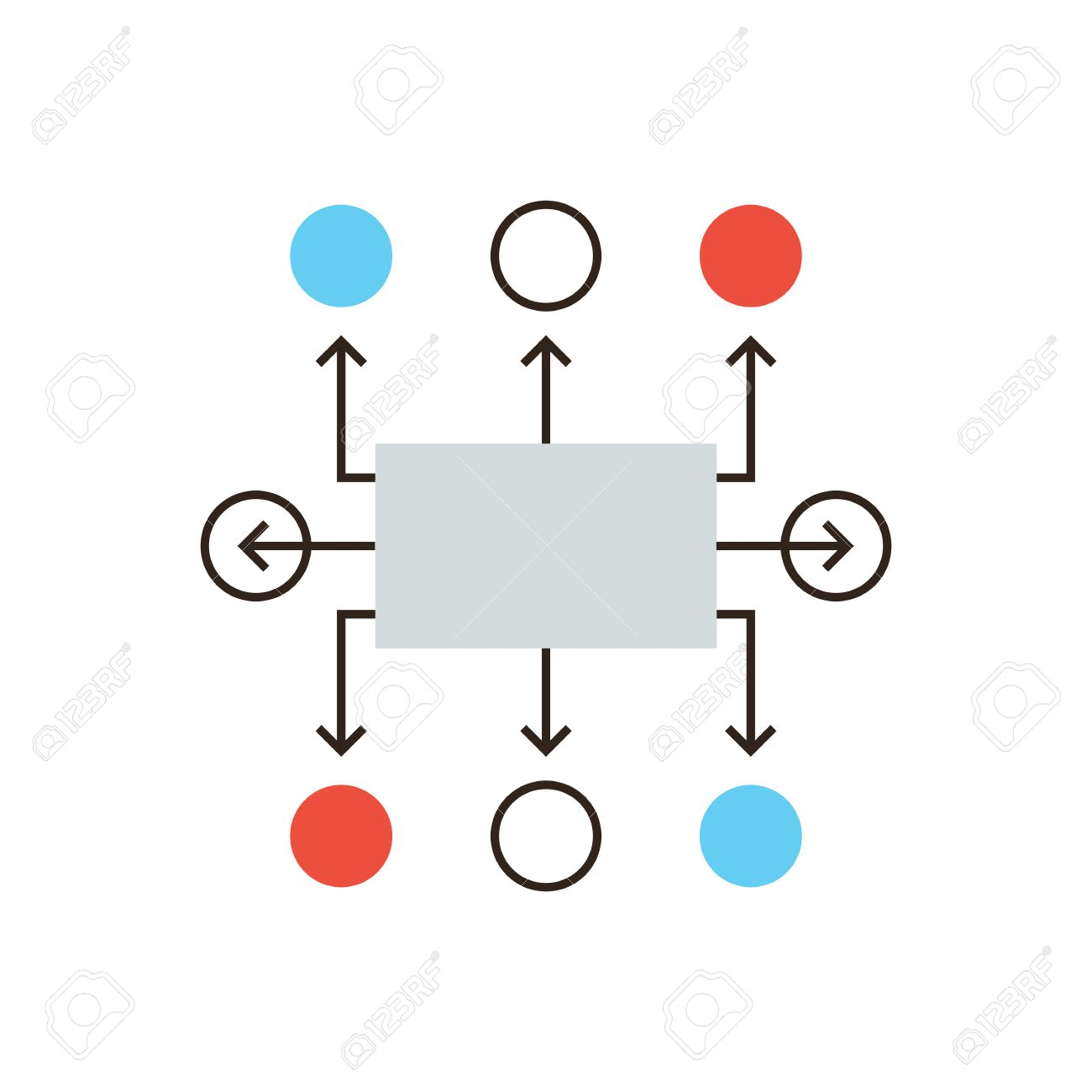 Thin line icon with flat design element of organization flow thin line icon with flat design element of organization flow chart planning workflow algorithm ccuart Choice Image