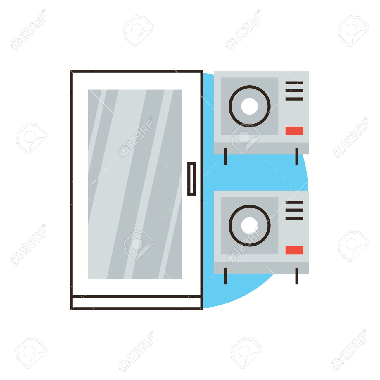 cold air conditioner clipart. thin line icon with flat design element of air conditioner system, fan conditioning, cool cold clipart